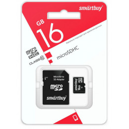 Карта памяти Smart Buy micro SD 16 Gb CL10 (c адаптером SD)